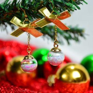 Christmas/Festive Earrings - White Baubles